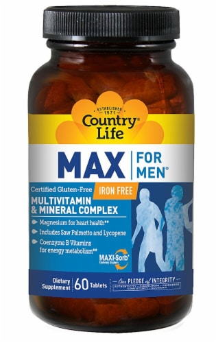 Country Life  Max For Men® Multivitamin and Mineral Perspective: front