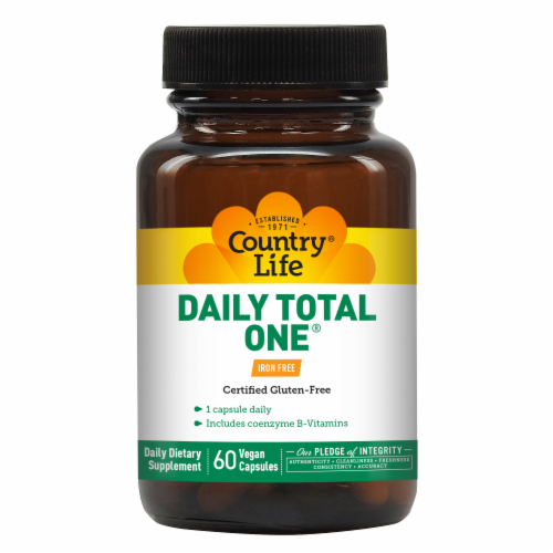 Country Life Daily Total One Iron Free Vegetarian Capsules Perspective: front