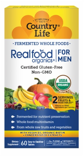 Realfood Organics Men's Daily Nutrition Tablets Perspective: front