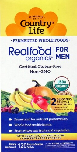 Country Life  Realfood Organics® For Men Whole Food Multivitamin Perspective: front
