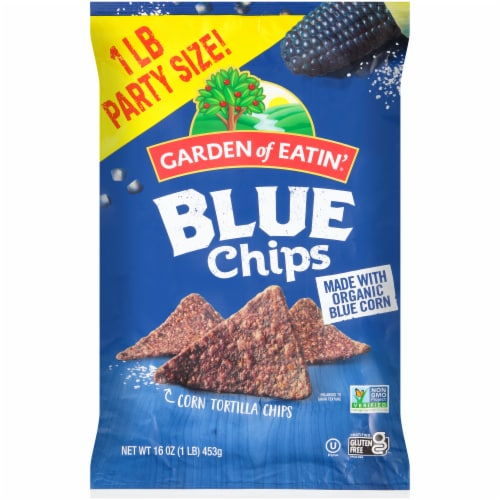 Garden of Eatin' Gluten Free Blue Corn Tortilla Chips Party Size Perspective: front