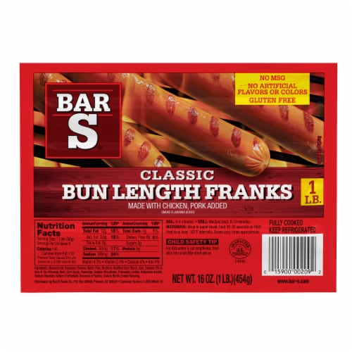 Bar-S Classic Bun Length Franks Perspective: front
