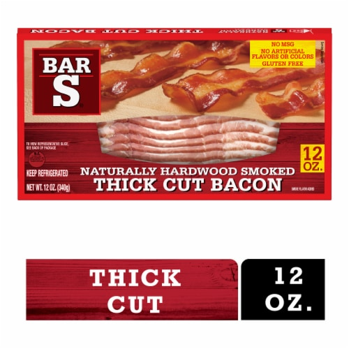 Bar-S Naturally Hardwood Smoked Thick Cut Bacon Perspective: front