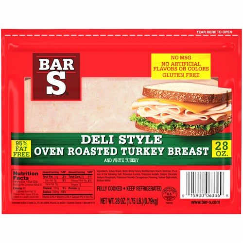 Bar-S Oven Roasted Turkey Breast Deli Lunch Meat Perspective: front