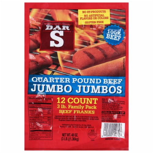 Bar-S Quarter Pound Beef Jumbo Jumbo Franks 12 Count Perspective: front