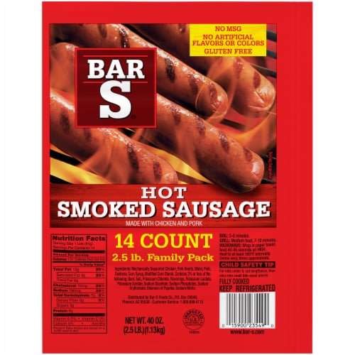 Bar-S Skinless Hot Smoked Sausage Family Pack Perspective: front