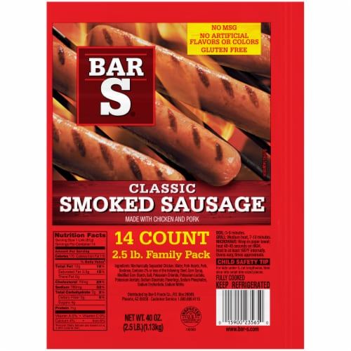 Bar-S Classic Smoked Sausage 14 Count Perspective: front