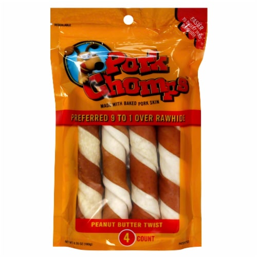 Pork Chomps Peanut Butter Flavored Twist Treats Perspective: front
