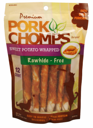 Pork Chomps Sweet Potato Wrapped Dog Treats Perspective: front