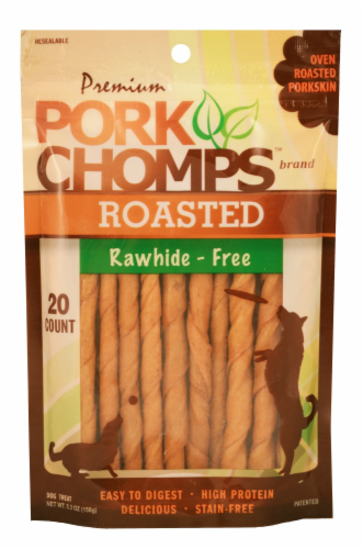 Pork Chomps Roasted Rawhide-Free Mini Twist Dog Treats Perspective: front