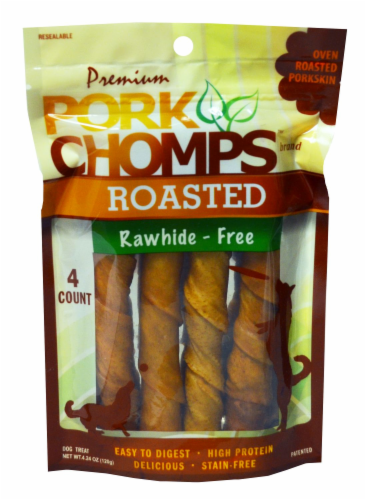 Pork Chomps Roasted Rawhide-Free Dog Treats Perspective: front