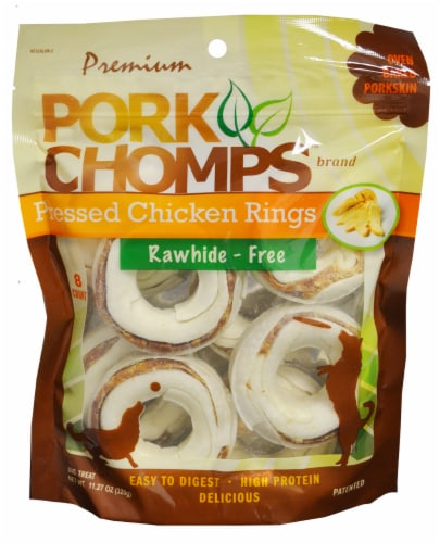 Pork Chomps Pressed Chicken Rings Dog Treats Perspective: front