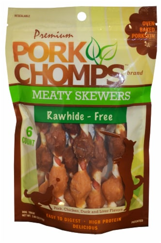 Pork Chomps Meaty Skewers Dog Treats Perspective: front