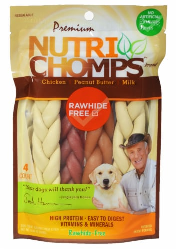 Nutri Chomps Assorted Flavors Rawhide-Free Dog Treats Perspective: front