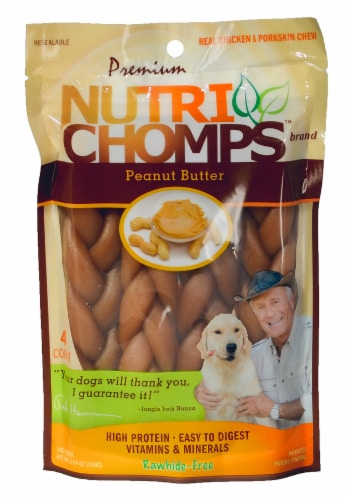 Nutri Chomps Peanut Butter Braids Dog Treats Perspective: front