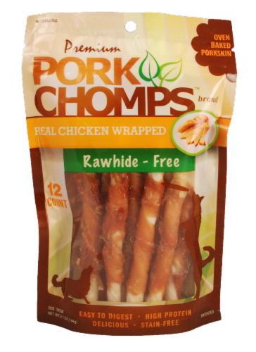 Pork Chomps Real Chicken Wrapped Rawhide Free Dog Treats Perspective: front