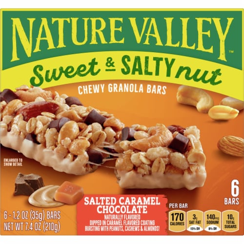 Nature Valley Sweet & Salty Nut Salted Caramel Chocolate Chewy Granola Bars Perspective: front