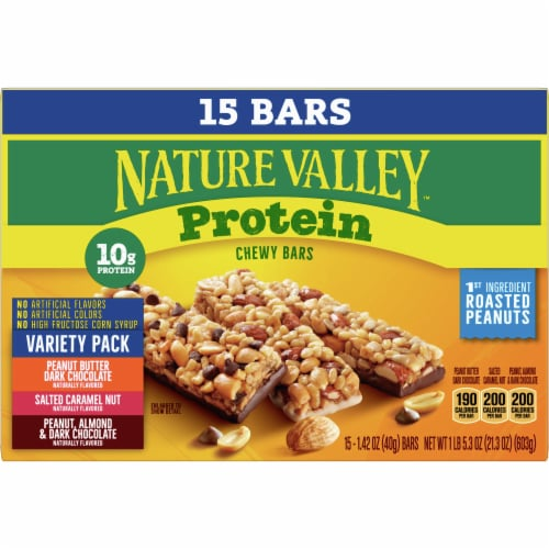 Nature Valley Chewy Protein Bars Family Size Perspective: front