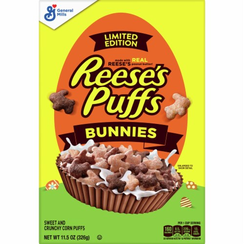 Reese's Puffs Peanut Butter Bunnies Sweet & Crunchy Corn Puff Cereal Perspective: front