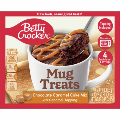 Betty Crocker Mug Treats Chocolate Caramel Cake Mix 4 Count Perspective: front