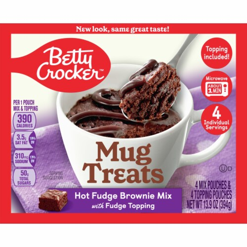Betty Crocker Hot Fudge Brownie Mug Treat Mix Pouches Perspective: front