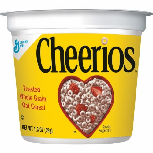Cheerios Cereal-in-a-Cup - Original - 1 Serving Cup - 1.30 oz - 6 / Pack Perspective: front