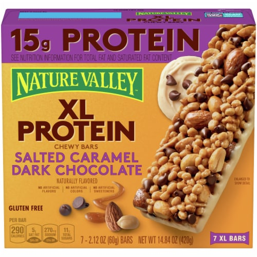 Nature Valley XL Protein Salted Caramel Dark Chocolate Chewy Bars Perspective: front