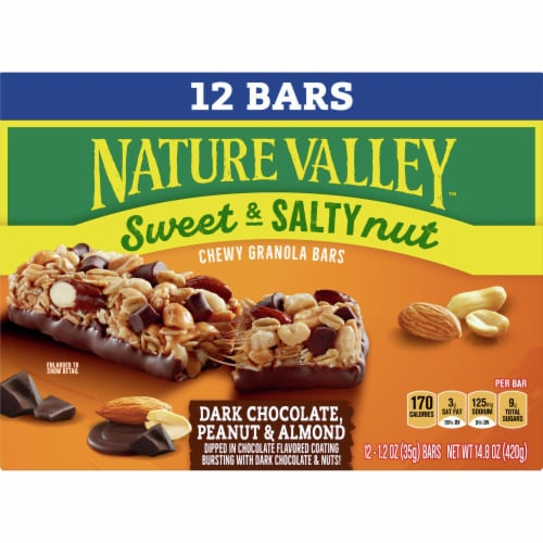 Nature Valley Dark Chocolate Peanut & Almond Sweet & Salty Nut Granola Bars Value Pack Perspective: front