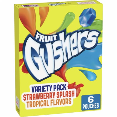 Fruit Gushers Strawberry Splash and Tropical Fruit Flavored Snacks Perspective: front