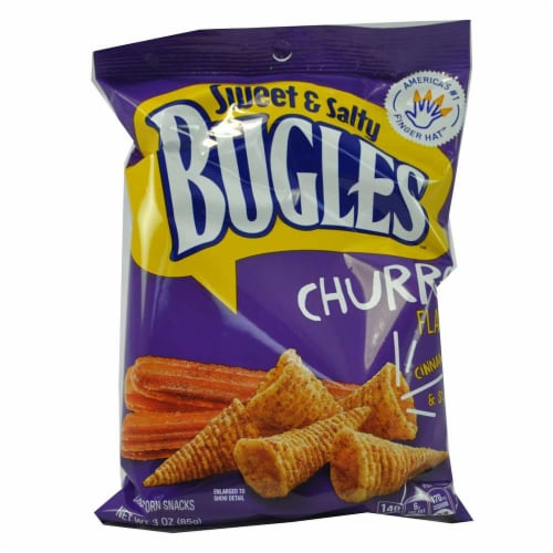 Bugles Sweet and Salty Churro Flavor Crispy Corn Snacks, 3 Ounce -- 6 per case. Perspective: front