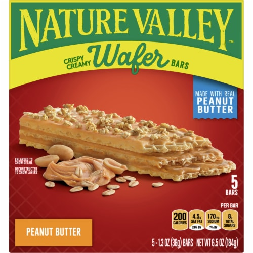 Nature Valley Crispy Creamy Peanut Butter Wafer Bars 5 Count Perspective: front