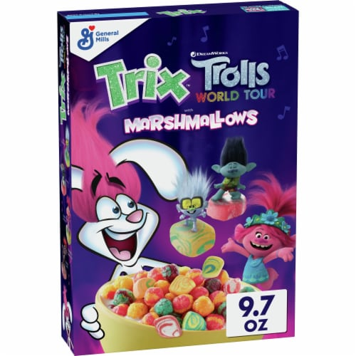 Trix DreamWorks Trolls World Tour Corn Puffs with Marshmallows Cereal Perspective: front