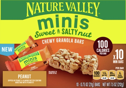 Nature Valley Sweet & Salty Peanut and Almond Butter Mini Granola Bars Perspective: front
