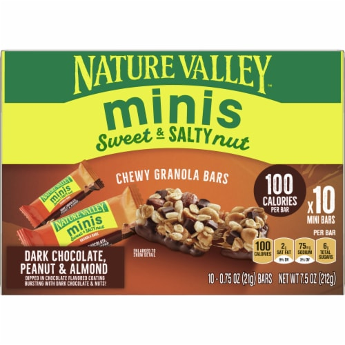 Nature Valley Sweet & Salty Dark Chocolate Peanut and Almond Mini Granola Bars Perspective: front
