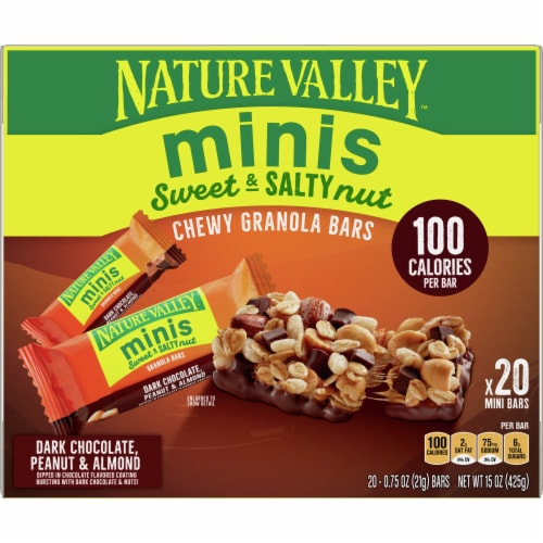 Nature Valley Sweet & Salty Nut Dark Chocolate Peanut & Almond Mini Chewy Granola Bars Perspective: front