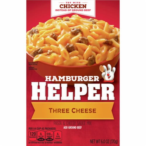 Hamburger Helper Three Cheese Pasta & Cheesy Sauce Mix Perspective: front