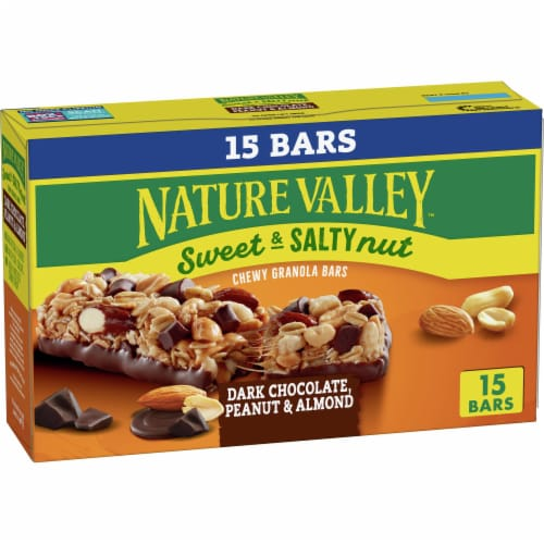 Nature Valley Sweet & Salty Nut Dark Chocolate Peanut & Almond Granola Bars Family Pack Perspective: front
