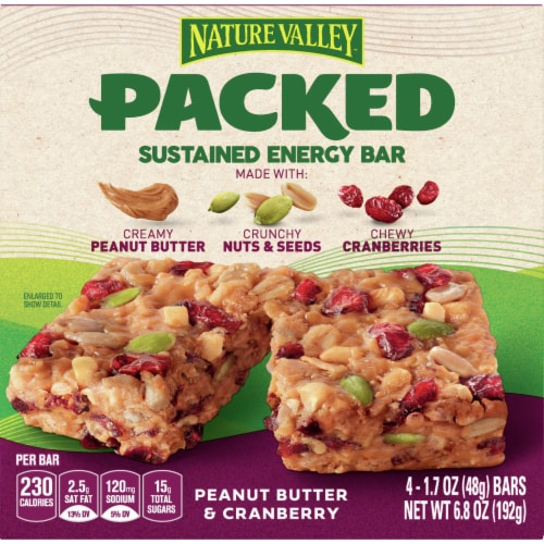 Nature Valley Packed Peanut Butter and Cranberry Sustained Energy Bars Perspective: front