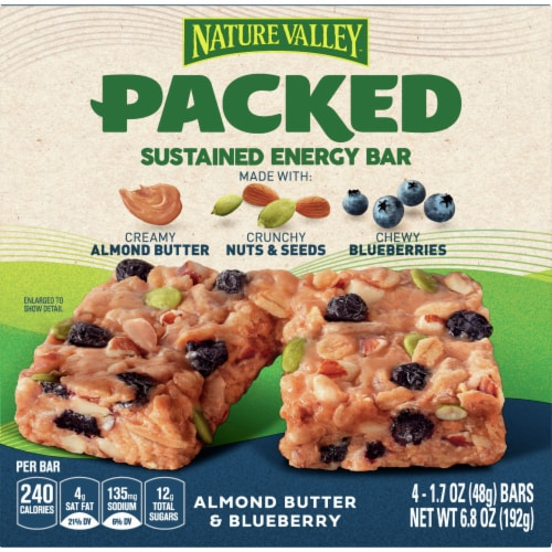 Nature Valley Packed Almond Butter & Blueberry Sustained Energy Bars Perspective: front