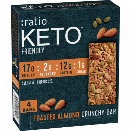 Ratio Keto Friendly Gluten Free Toasted Almond Crunchy Bars Perspective: front