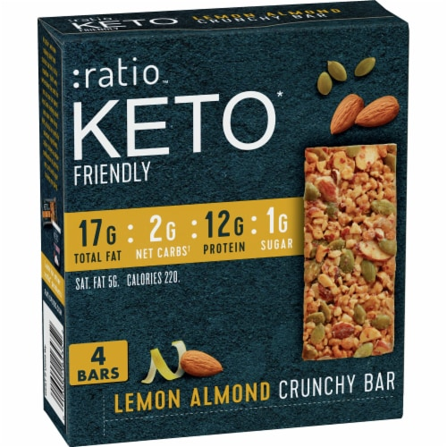 Ratio Keto Friendly Lemon Almond Crunchy Bars Perspective: front