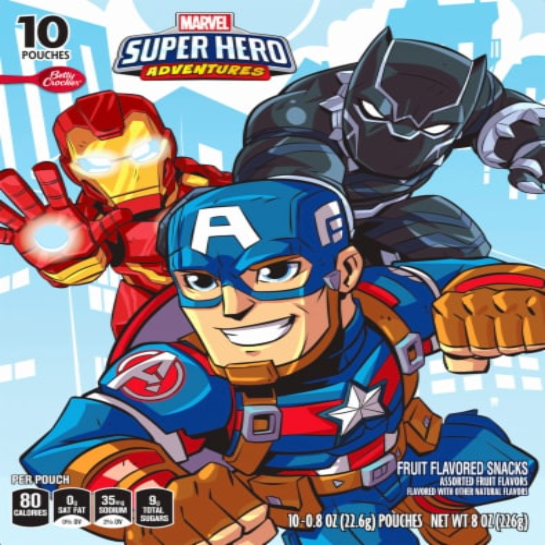 Betty Crocker Marvel Super Hero Adventures Fruit Snacks Perspective: front