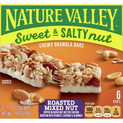 Nature Valley Sweet & Salty Nut Roasted Mixed Nut Chewy Granola Bars Perspective: front