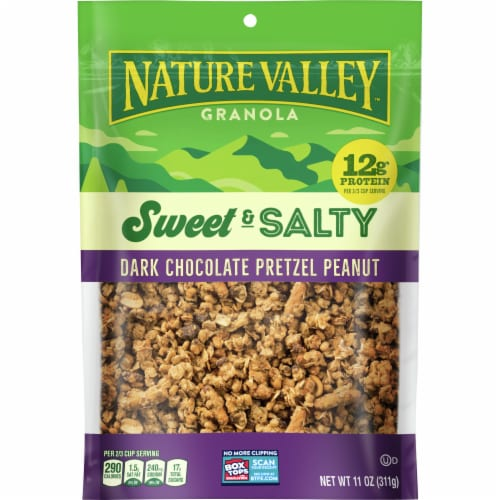 Nature Valley Sweet & Salty Dark Chocolate Pretzel Peanut Granola Perspective: front