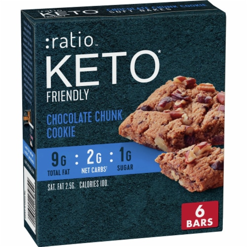 :ratio™ Keto Friendly Chocolate Chunk Cookie Soft Bake Bars Perspective: front