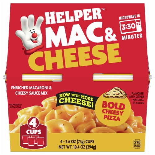 Hamburger Helper Bold Cheesy Pizza Mac & Cheese Microwave Cups Perspective: front
