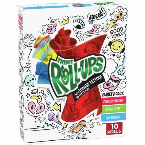 Fruit Roll-Ups with Unicorn Tongue Tattoos Gluten Free Fruit Flavored Snacks Variety Pack Perspective: front