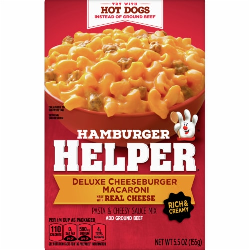 Hamburger Helper Deluxe Cheeseburger Macaroni Pasta & Cheesy Sauce Mix Perspective: front
