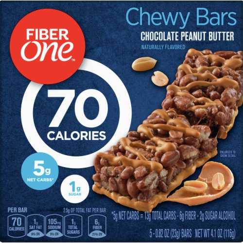 Fiber One 70 Calorie Chocolate Peanut Butter Chewy Bars Perspective: front