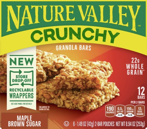 Nature Valley Crunchy Maple Brown Sugar Granola Bars Perspective: front